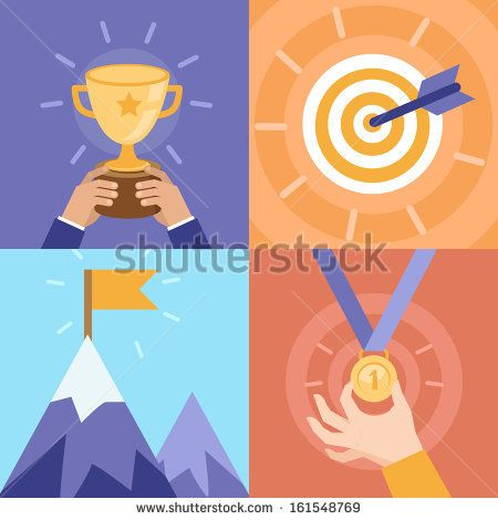 Vector success concepts - bowl, goal, medal, summit - icons and illustrations in flat style by venimo, via Shutterstock