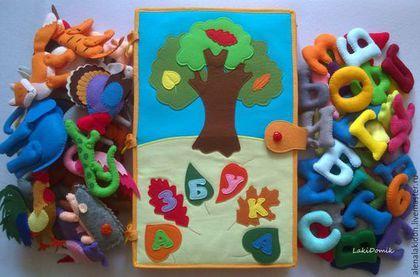Купить Алфавит из фетра + Книга Азбука - оранжевый, алфавит, алфавит из фетра, мягкая книжка