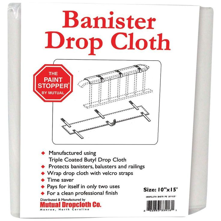 The Paint Stopper by Mutual 10 in. x 15 ft. White Banister Railing Triple Coated Butyl Drop Cloth, Whites