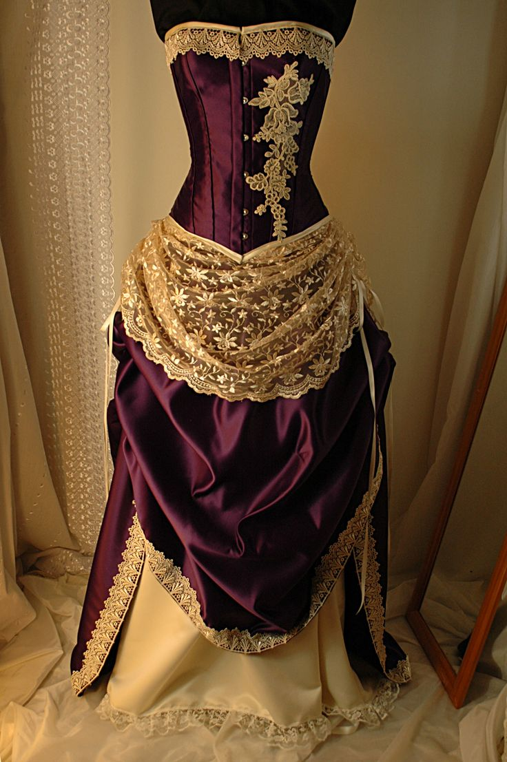 Bound By Obsession cream and purple gown.  I like how the lace is used as the overskirt and then as trim on the top piece.