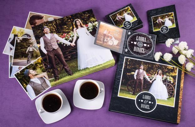 Ślubny zestaw fotoproduktów - fotoalbum, fotoobraz, opakowanie na płyty CD i DVD Kreativ 100%, pendrive z opakowaniem Kreativ 100%, odbitki,
