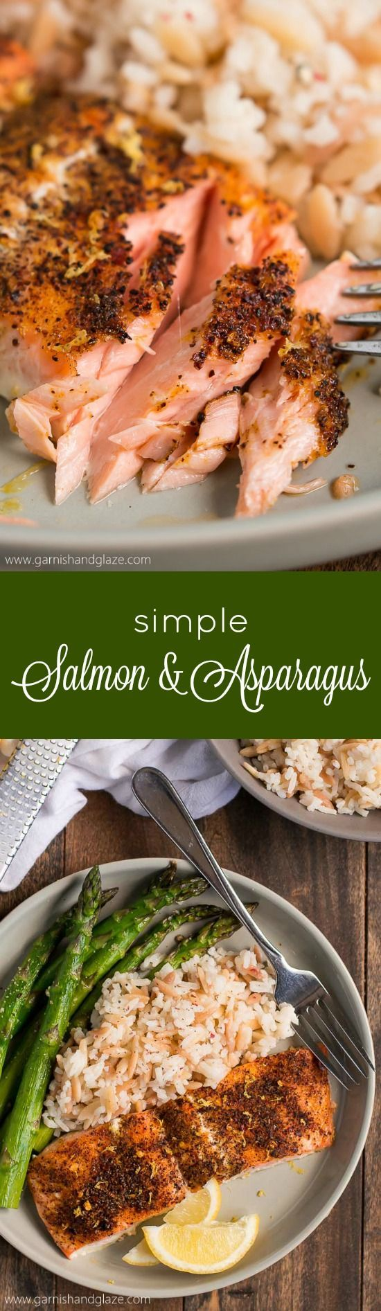 Get a delicious healthy dinner on the table in less than 20 minutes with this Simple Salmon & Asparagus.