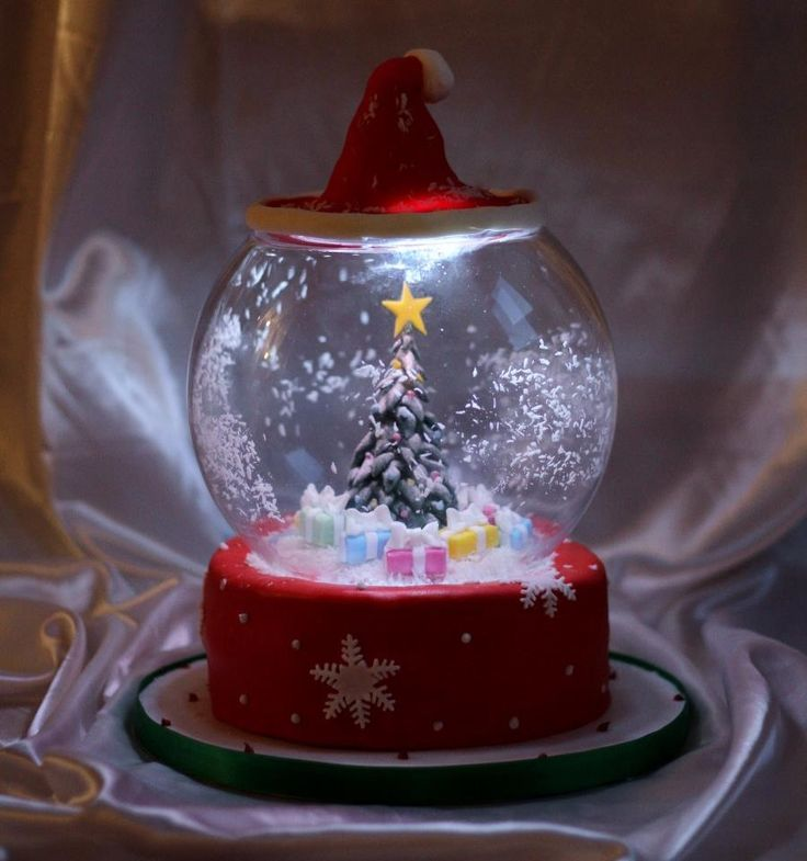 Awesome snow globe cake with LED lights