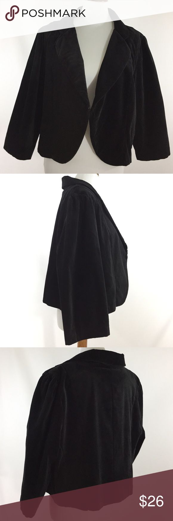 """Torrid 3 Black Velvet like Blazer Coat Plus Size Excellent used condition.  Zero flaws. Torrid 3 Black velvet-like Cotton & Spandex Blend. Bolero blazer jacket half coat. 3/4 Sleeves. Rounded notched collar. Tiny hook closure at waistline. Looks great open or closed. The interior back portion of the jacket is lined. Plus size 22/23 Measurements laying flat: Armpit to armpit 24"""" Length 20.5"""" (top. Of shoulder to bottom of coat) Arm length 11"""" (pit to end of sleeve)  Jacket looks fantastic…"""