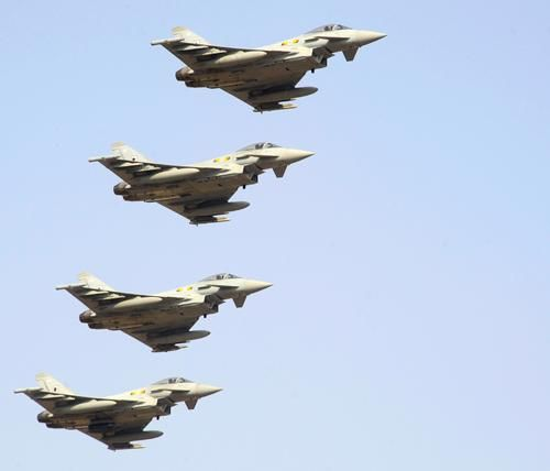 Typhoons from 121 Expeditionary Air Wing (EAW) take off from Akrotiri.