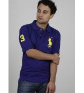 Ralph Lauren Men\u0027s polo shirt Big Pony CLASSIC FIT Royal Blue/Yellow