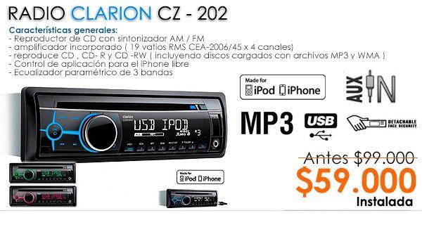 El modelo #Clarion que ha tenido un buen posicionamiento. Miami Center Chile    MP3/ AUX/ USB/ IPOD/ IPHONE       http://bit.ly/1kxDBD1