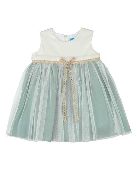 7b9810fee0 Vestido de bebé niña Tartaleta en blanco y verde agua con tul ...