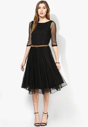 MIAMINX Black Colored Solid Skater Dress Online Shopping Store