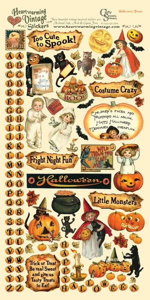 Heartwarming Vintage Cardstock Stickers 6 X12 Sheet-Halloween Treats $2.00