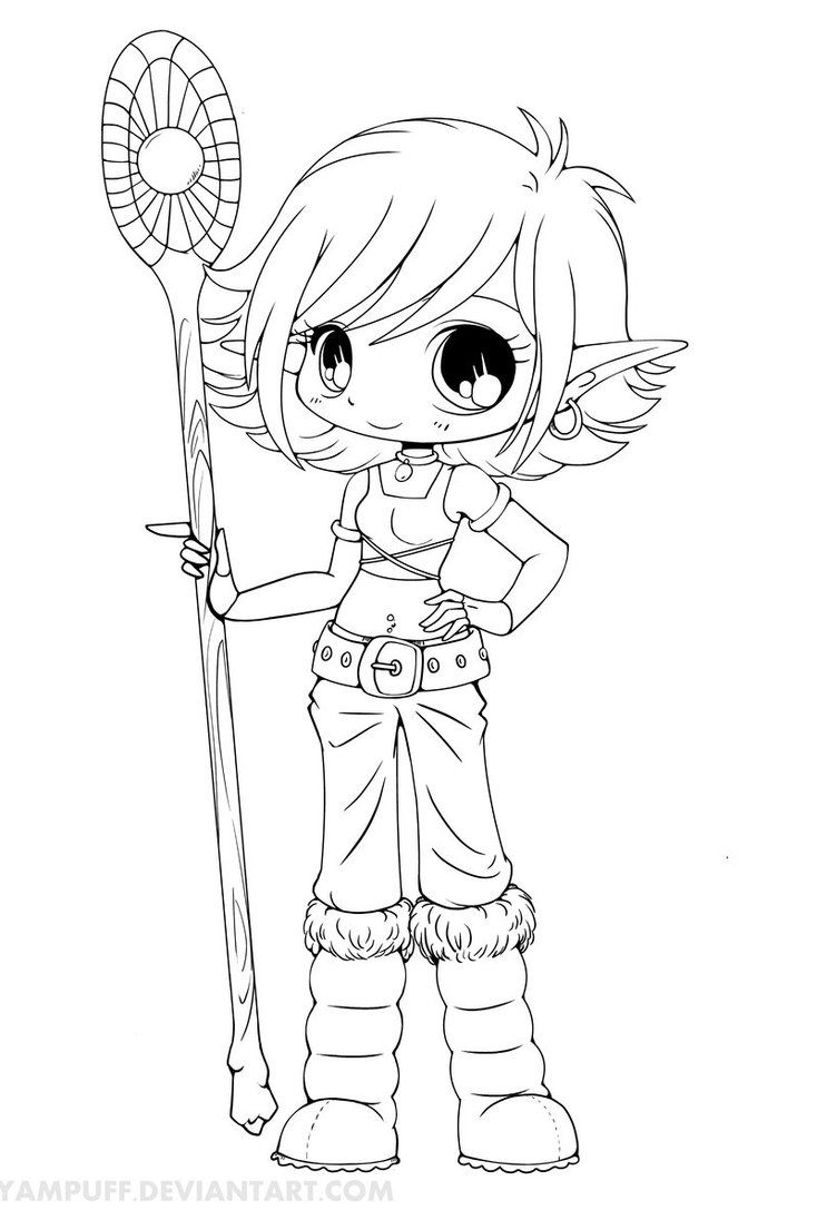Free coloring page elf - Nice Chibi Anime Coloring Pages