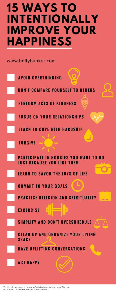 15 Ways to Intentionally Increase Your Happiness Infographic — Holly Bunker