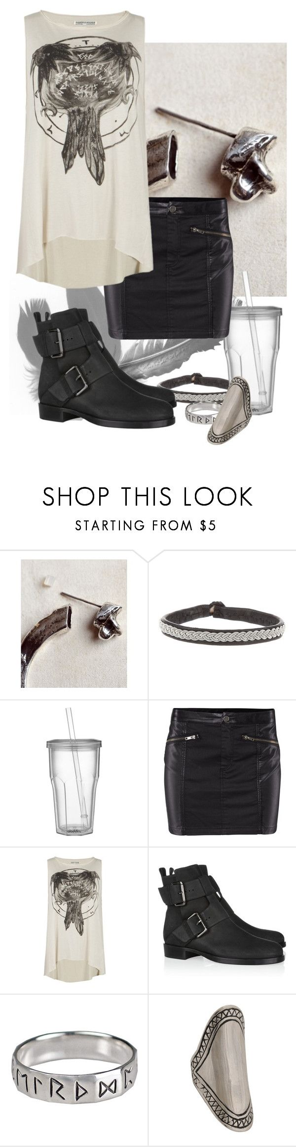 """""""Breathe us in, slowly"""" by occultette ❤ liked on Polyvore featuring Pamela Love, Hanna Wallmark, Crate and Barrel, H&M, AllSaints, Pierre Hardy, Rune NYC, Forever 21, leather skirts and buckle boots"""