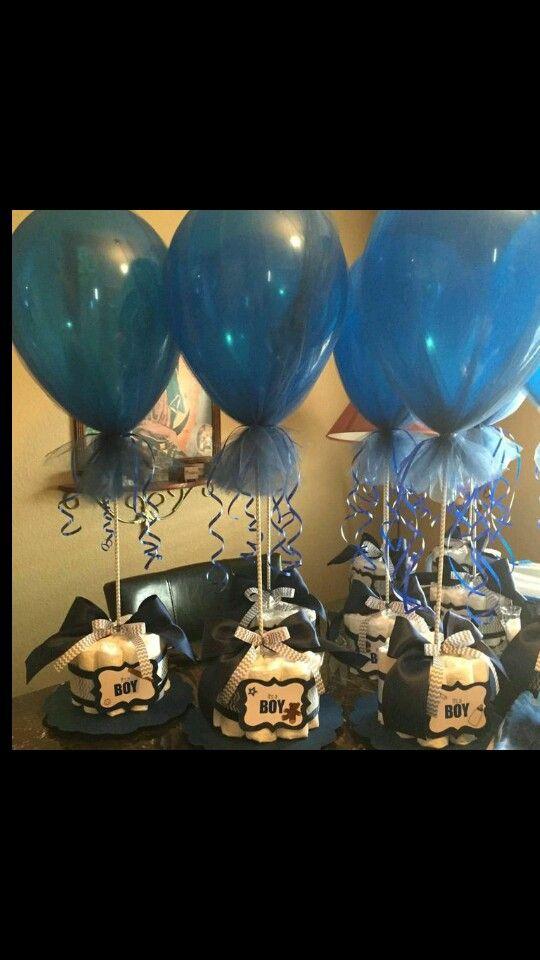 Diaper Cakes! Navy blue, white & gray chevron. Balloons wrapped in tulle. It's a Boy!! -Sara Duran