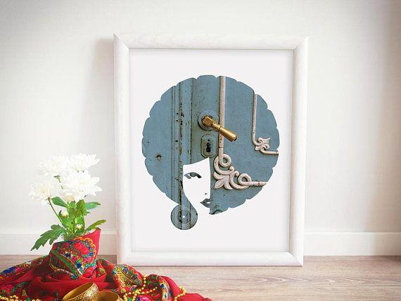 Afro Art, African American Art, Vintage Door Print, Digital Download, Vintage Poster, Blue Hair, Home Decor, Greek Door, Greece Photography