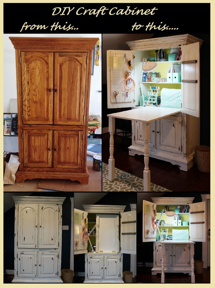 DIY craft cabinet from a $175 used TV armoire. DIY paint antiquing sewing cabinet plus a pull down sewing table.