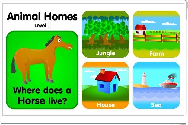"""""""Animal homes"""" es un juego, de bgfl.org, en el que hay que llevar al animal hacia su hábitat: selva, granja, casa o mar. Además se ayuda al conocimiento de vocablos en inglés referentes a nombres de animales y el medio en el que viven."""