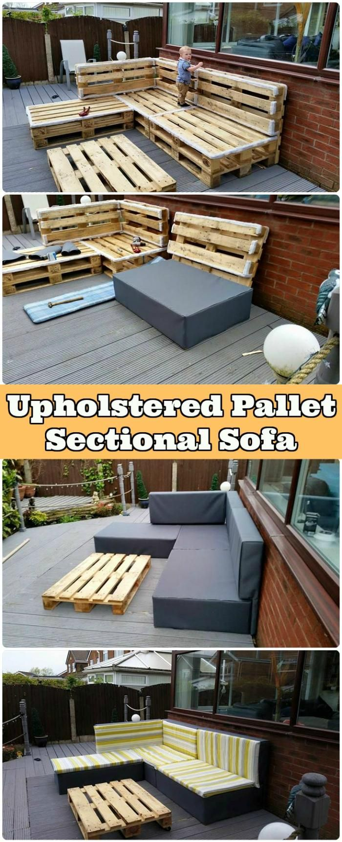 Upholstered Pallet Sectional Sofa - 150 Best DIY Pallet Projects and Pallet Furniture Crafts - Page 29 of 75 - DIY & Crafts