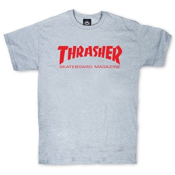 Thrasher Skate Mag T-Shirt (Gray/Red) ❤ liked on Polyvore featuring tops, t-shirts, grey tee, logo tee, red tee, cotton logo t shirts and gray t shirt