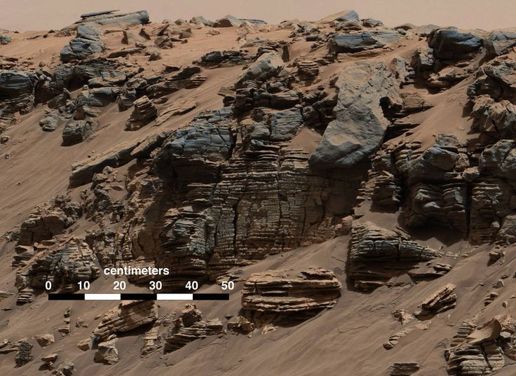 This evenly layered rock photographed by the Mast Camera (Mastcam) on NASA's Curiosity Mars Rover shows a pattern typical of a lake-floor sedimentary deposit not far from where flowing water entered a lake.