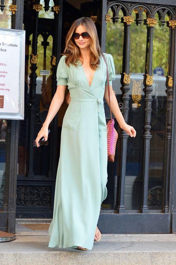 Miranda Kerr in a gorgeous pastel maxi dress