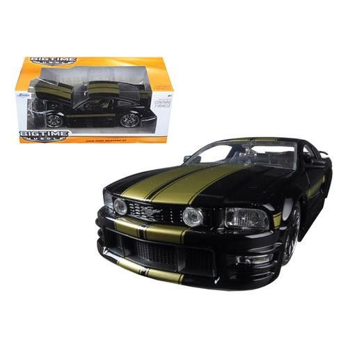 2006 Ford Mustang GT Black With Gold Stripes 1/24 Diecast Model Car by Jada