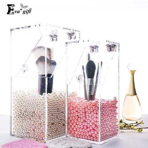 Crystal Acrylic Makeup brush Organizer cosmetic storage box Makeup tool Flashing  pencil holder Lipstick Organizer cosmetic case