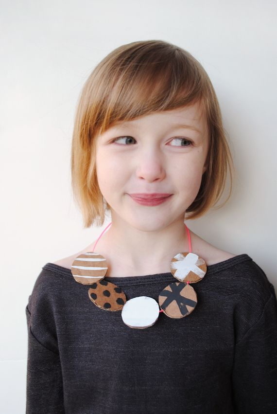 Reversible DIY Cardboard Necklace for kids