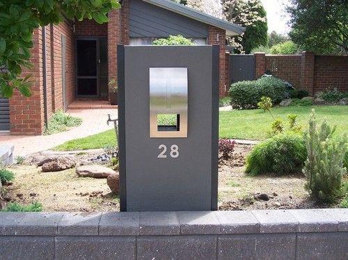The Maddison Letterbox - Woodland Grey Render & Black Legs