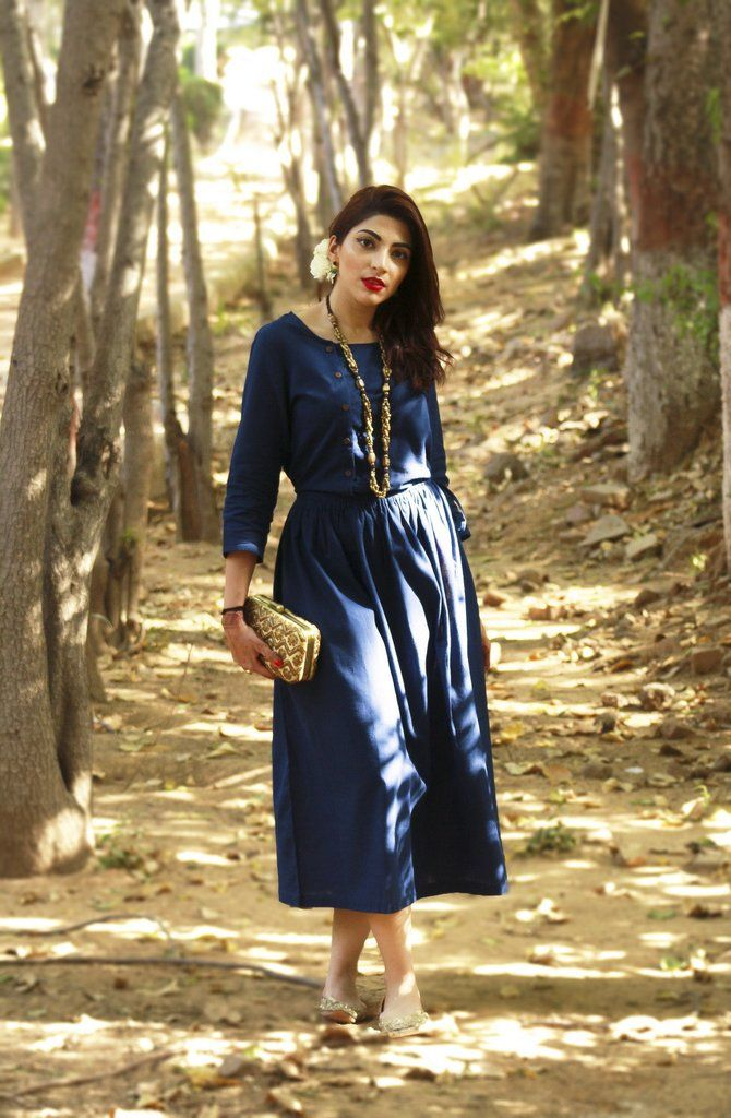 Indigo Cotton Vintage Dress