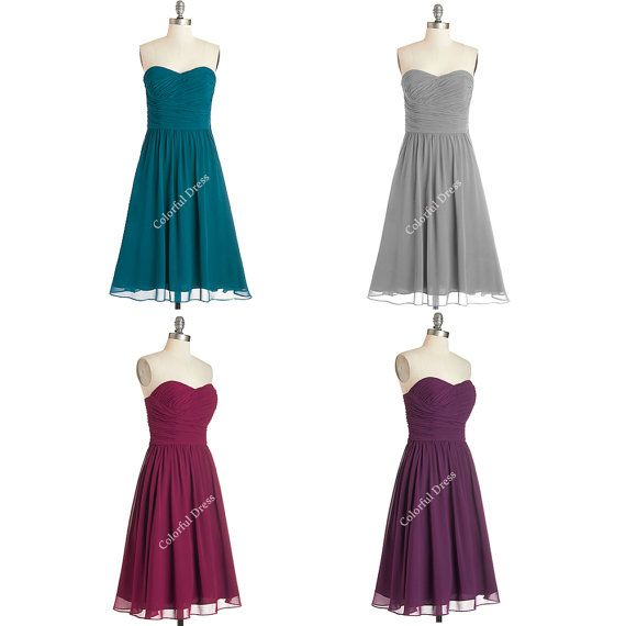 Simple Sweetheart Bridesmaid Dress/Short Bridesmaid by ColorDress