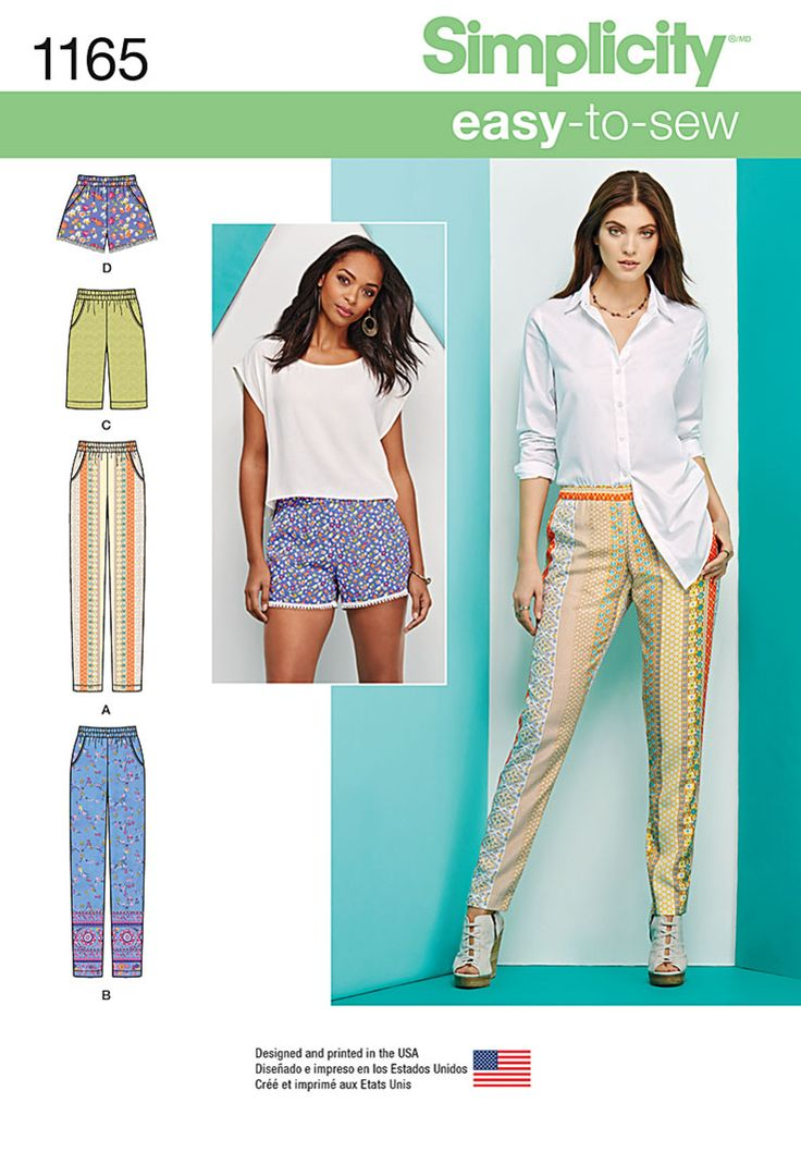 Comfortable and casual. Sew pull-on pants with pockets, shorts that are just above the knee, and short shorts with trim. DIY with Simplicity pattern 1165.