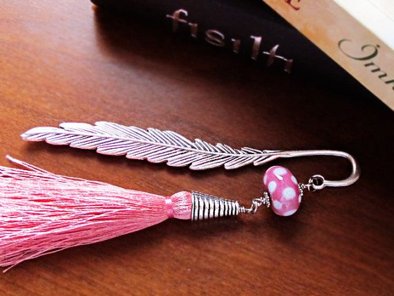 Metal Bookmark with Pink Lampwork Glass Bead by GlassHouseLampwork
