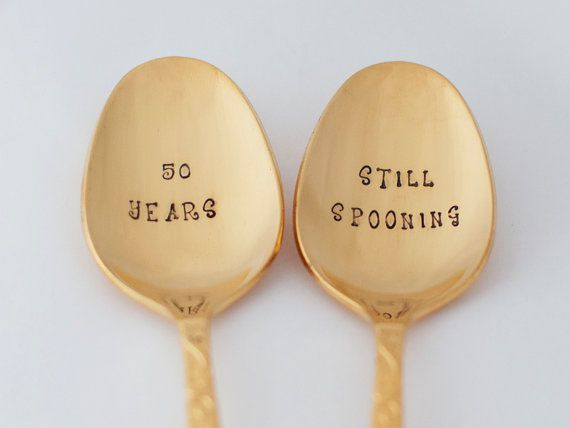 Golden Anniversary 50th Wedding Vintage Gold Spoon Set Stamped Silverware Vow Renewal 50 Year