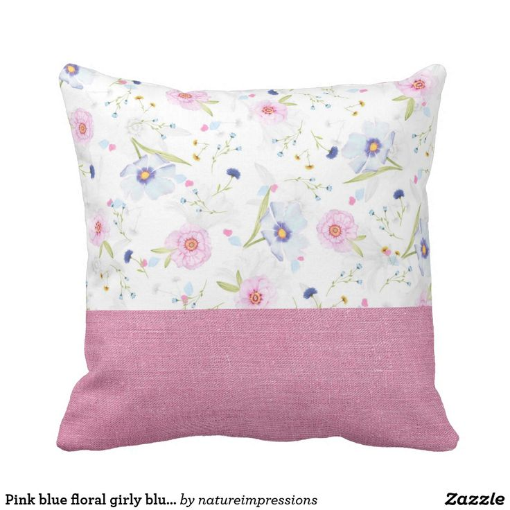 Pink blue floral girly blush summer pink fabric