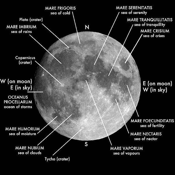 Map of the Moon.Moon Features, Earth Moon, Lunar Maria, Moon Maps, Anthony Night, Moon Maria, The Moon, Fun Science, Moon Pictures