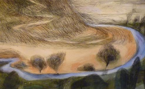 Eleri  Mills: Tirlun Barddol-Amddiffynfa VII - Mixed Media on paper. 41 x 66 cm.