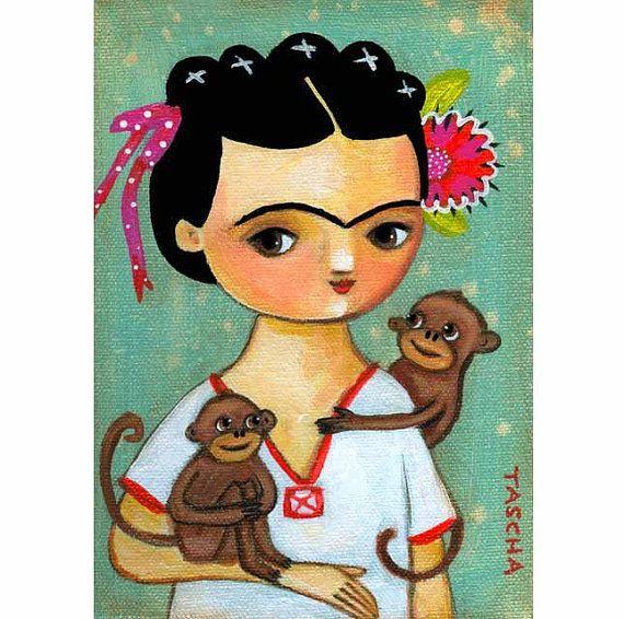 FRIDA Kahlo two MONKEYS portrait folk art PRINT of painting by tascha