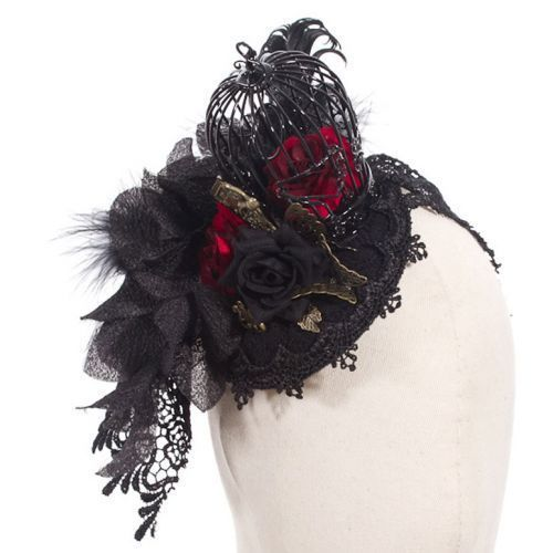 Fascinator schwarz mit Vogelkäfig SP038 von RQ-BL Steampunk