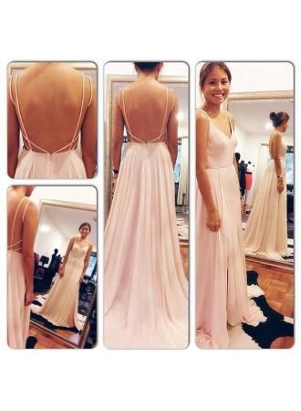 Spaghetti Straps Chiffon Pink Evening Dresses 2017 A-Line Backless Elegant Prom Gowns,68