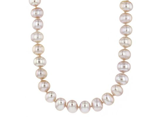 7-8mm Pink Cultured Freshwater Pearl Rhodium Over Sterling Silver Stra