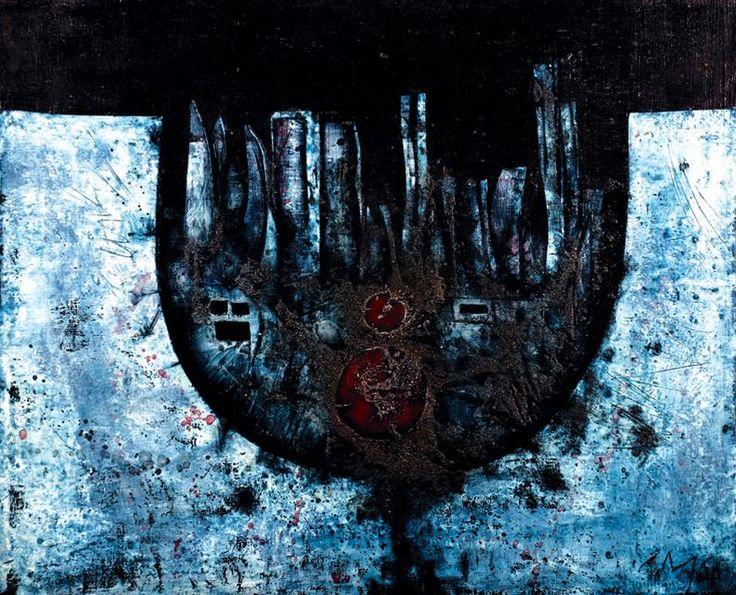 Mikuláš Medek - The glass full of unrest (1966) #painting #art #Czechia