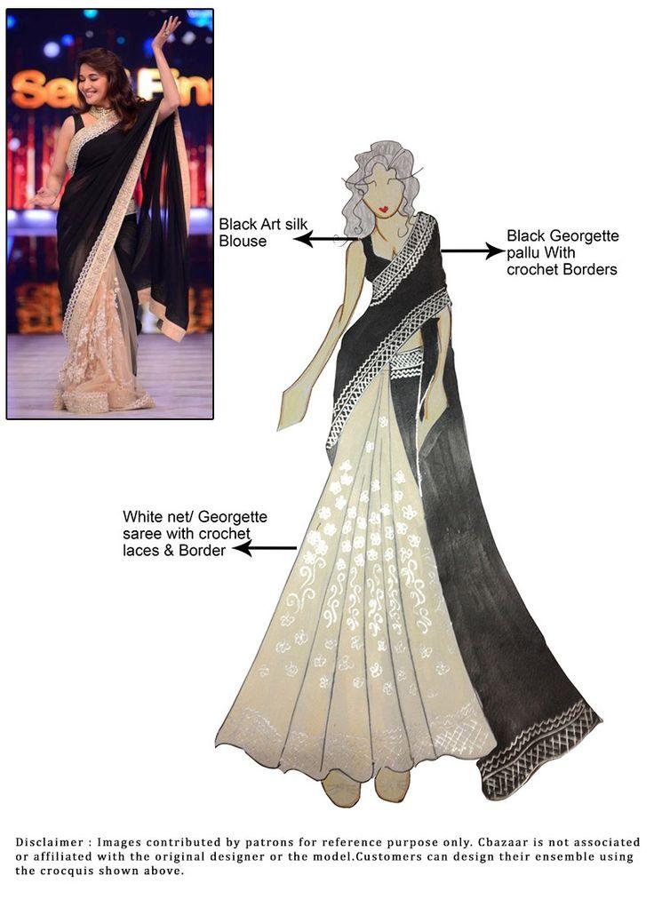 DIY Georgette Madhuri Dixit Half N Half Saree