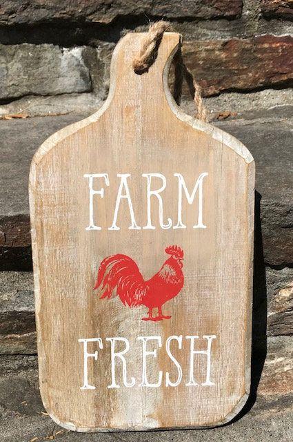 Farmhouse Decor, Farm Fresh Tray, Farmhouse Cutting Board, Rooster Decor,Wood Cutting Board, Farmhouse Kitchen Decor, Farm Decor
