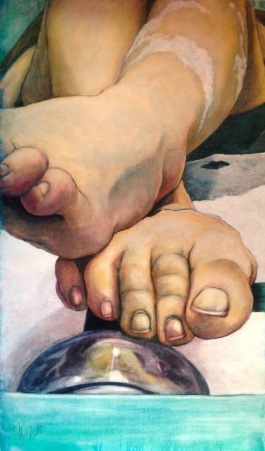 "Saatchi Art Artist Monica Spicciani; Painting, ""In the tub"" #art"
