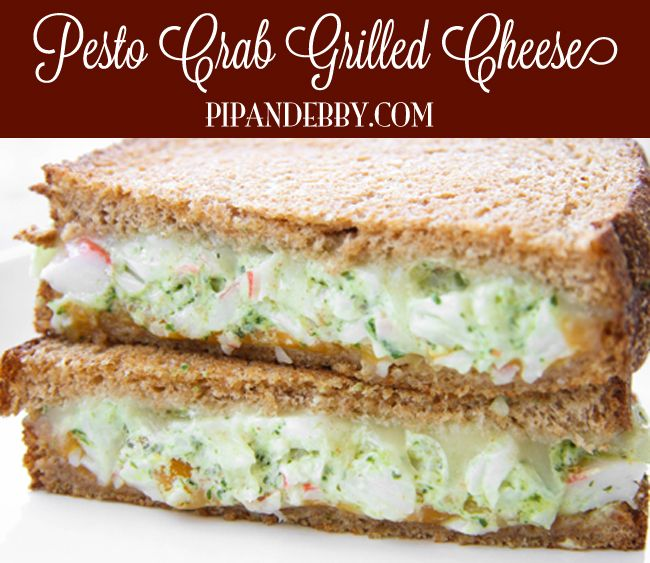 Pesto Crab Grilled Cheese Sandwich - Pesto, crab meat and cream cheese are packed into this baby!