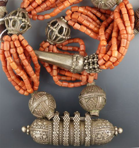 Yemen Large Pink Coral & Silver Necklace
