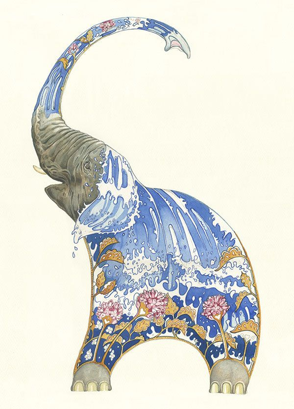 """Watercolour illustration of an Elephant by Daniel Mackie. Printed on High quality 330gsm card. Cards are 7x5 inchs. In Rudyard Kipling's, """"Just ..."""