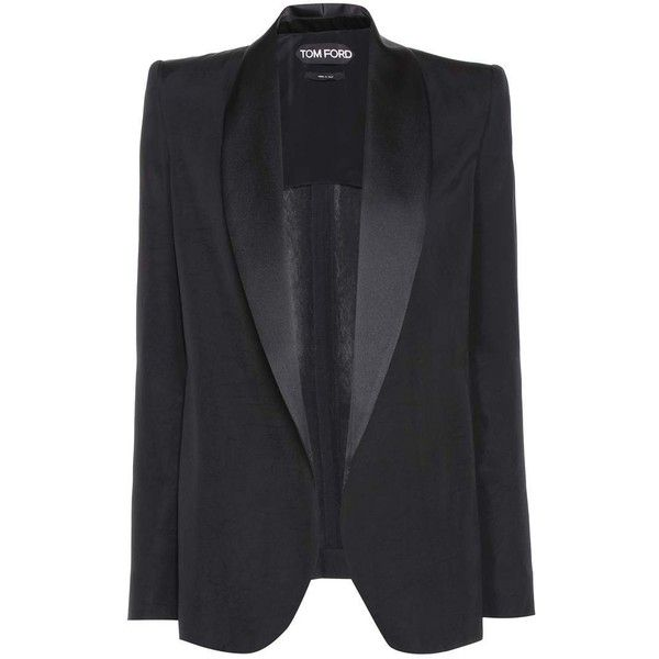 Tom Ford Tuxedo Jacket ($2,225) ❤ liked on Polyvore featuring outerwear, jackets, blazers, blazer, coats, tops, black, tuxedo jackets, blazer jacket and tom ford blazer