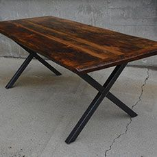 Reclaimed Live Edge Salvaged Wood Barn Board Custom Dining Table Toronto Barrie Muskoka Guelph Kitchener